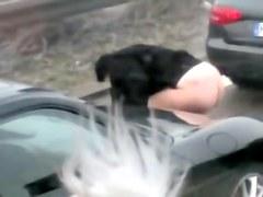 Shameless girl caught pissing on auto strada