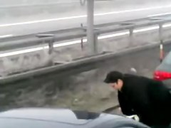 Shameless girl caught pissing on auto strada