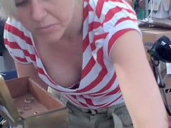 Mature in red and white top full boob down blouse view