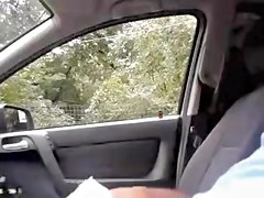 Man sitting in the car flashing his cock to passing by girl