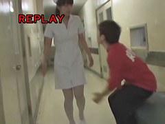 Kinky dude does panty sharking to the pretty Japanese nurse