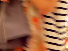 Girl in striped top exciting downblouse video scenes