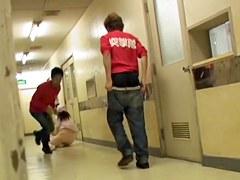 Nurse in uniform falls on knees when man sharks her bottom