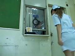 White full back panty of the real nurse under sharking