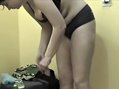 Big boobs are bouncing on the changing room spy cam