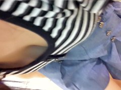 Girl in striped top knees upskirt and sexy downblouse