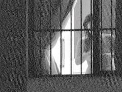 Fem is hiding tits under bra on window voyeur video