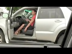 Lusty amateur girl loses off cloths and undies in the car