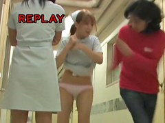 Pretty teen nurse got her short uniform dress pulled up