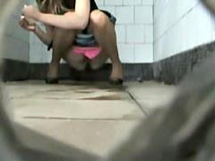 Public toilet cam caught the beautiful shaved beaver