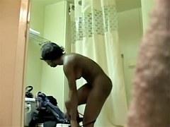 Hot ebony girl creaming nude body on the spy camera