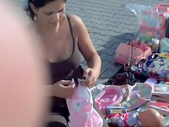 Sexy nipples downblouse of amateur is voyeured on cam