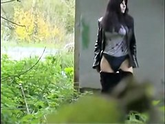Teen girl thinks she has hidden from everybody when pissing