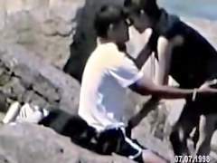 Raunchy outdoor spy cam sex with babe riding her nasty lover