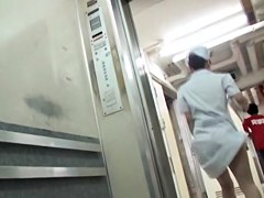 Sweet looking nurse involved in Japanese panty sharking