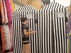Dressing room voyeur cam movie with leggy doll in panty