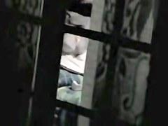 Charming dark haired milf on voyeur window scenes