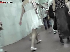 Slim-fit young beauty was upskirted in the subway
