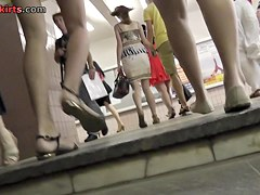 Cutie was upskirted during the upstairs walking