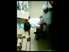 Filming bakkery co-workers through the security cam
