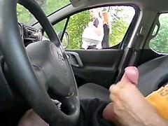 Public FLASH Car Watching blond MILF