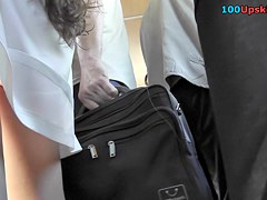 Amazingly appetizing ass in the amateur upskirt video