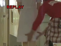Man runs by hot nurse and pulls her skirt up