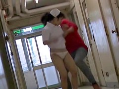 Young Japanese nurse tried to resist against sharking