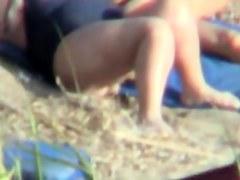 Beach voyeur man spying very fat mature in swimsuit