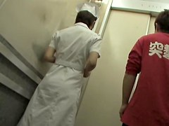 Hot Japanese nurse sharking in the hospital corridor