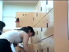 Beautiful Asian females baring off bodies in changing room