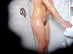 Wet body of the changing room amateur looks so great