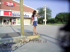 Amateur black panty on the wind blown upskirt sexy clip