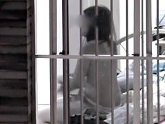 Window voyeur scenes with nude titted brunette woman