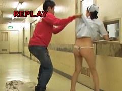 Erotic tiny thong hiding under girls skirt on sharking video