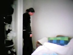 My wife changing after work on the voyeur cam set in room