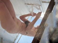 Fem in erotic lingerie unconsciously shows body treasures