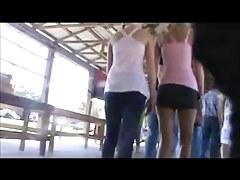 hot blonde at fleamarket in short shorts
