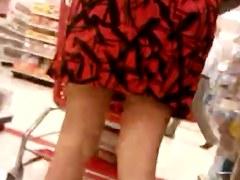 Nice red dress upskirt Part 1