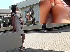 Upskirt treasures of the lonely brunette girlfriend