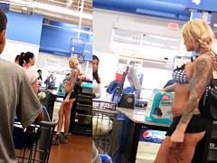 Tattooed Blonde Stripper flashing at Walmart