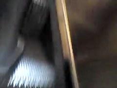 dans le metro,collant ouvert sans culotte