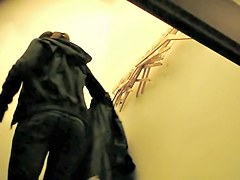 Girl in good white panty tries on the black pants on spy cam