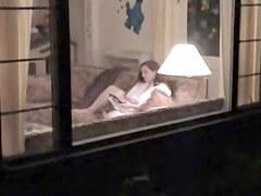 My brunette neighbor Anne voyeured masturbating thru window