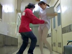 Nasty man going to shark the panty of hot nurse