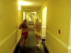 Naughty teen girls running with nude tits in the hotel