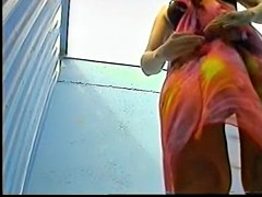 Girl in beach cabin very erotic spy cam panty view