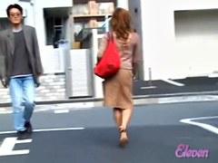 Three hot Asian ladies were exposed to skirt sharking