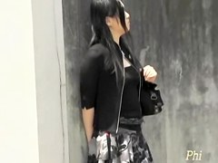 Classy lady waits for her cab and gets skirt sharked