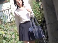 Hot sexy Asian girl got boob sharked when taking a shortcut